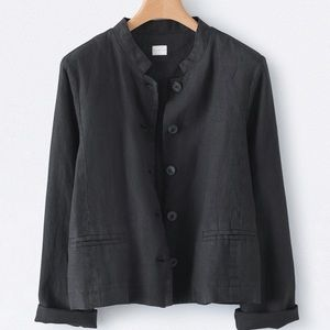 Poetry Short Jacket XL linen in washed black